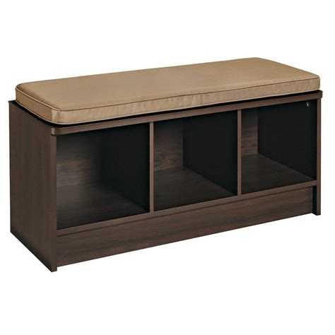 storage bench cushions closetmaid 3 cube storage bench only 64