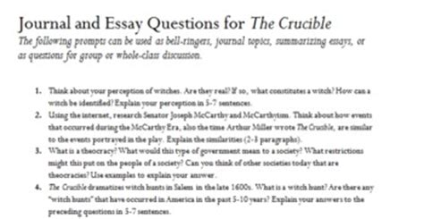 The Crucible Essay Questions by The Crucible 25 Journal And By Mrs Jen Teachers Pay Teachers
