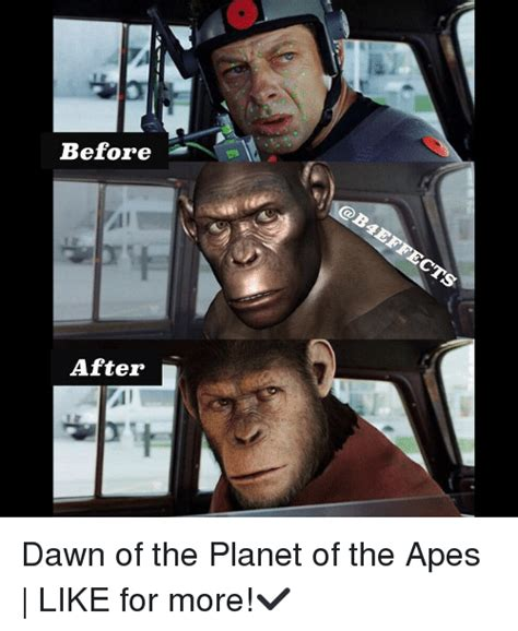 Planet Of The Apes Meme - before after dawn of the planet of the apes like for