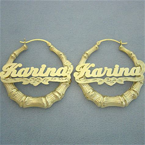14k gold personalized name bamboo hoop earrings 1 11 16 inch