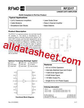 datasheet of rf diode rf2317 datasheet pdf rf micro devices
