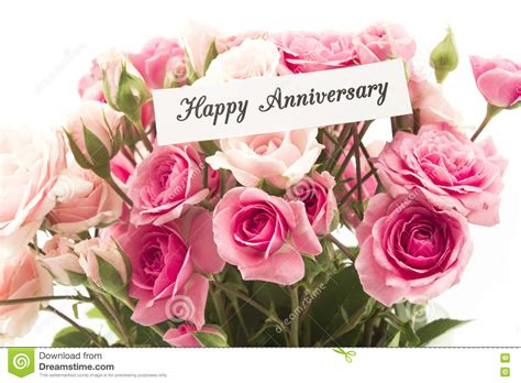 Wedding Anniversary Roses by Happy Anniversary Card With Bouquet Of Pink Roses Stock
