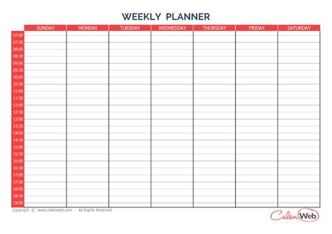 printable calendar week starting saturday weekly planner 7 days first day sunday a week of 7 days