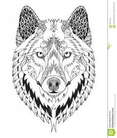 Gray wolf head zentangle stylized vector illustration freehand