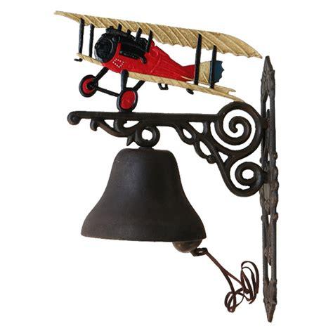 glocke mit flugzeug roter doppeldecker rot gusseisen - Haustür Rot Kaufen