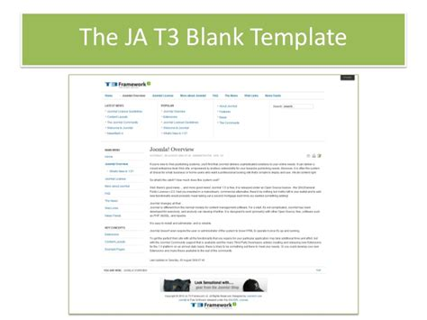 joomla empty template build joomla template with ja t3 framwork 2 0