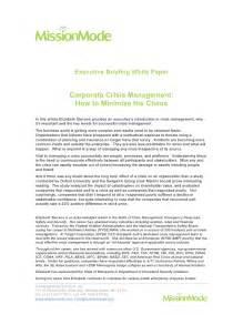 Crisis Management Essay by Corporate Crisis Management Executive Briefing White Paper