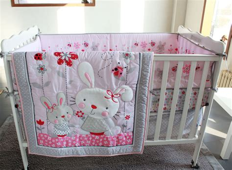 Baby Pink Cot Bedding Sets Pink Rabbit Flowers 4pc Baby Crib Bedding Set Applique 3d Quilt Bumpers Fitted Sheet Dust