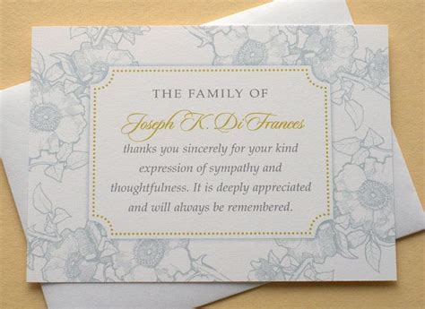 funeral thank you cards with blue or dusty flowers set of 36 f