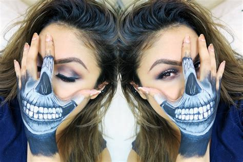 how to skull hand face makeup tutorial youtube