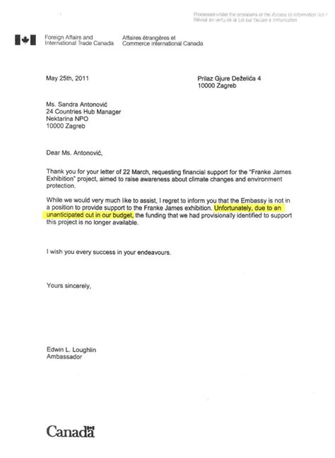 Letter Requesting Financial Support From Employer Canada S Climate Change Office Secretly Killed Approval For Franke James European Tour