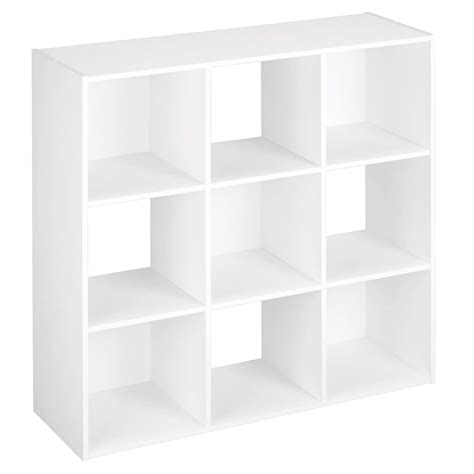 cubby storage shelves black white 3 tier 9 cube wooden bookcase display