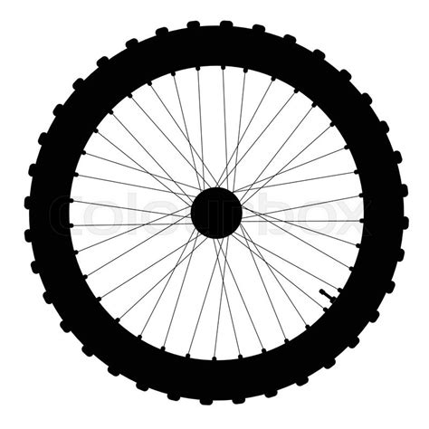 Bicycle Wheel Outline by A Knobly Tyre On A Bicycle Wheel With Valve And Spoke In Silhouette Stock Vector