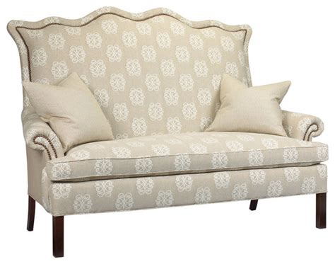 Beziers French Country Ivory Monogram Upholstered Small Country Sectional Sofas