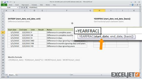 how to calculate years excel tutorial how to calculate years and months between dates