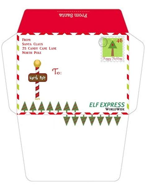printable envelope from santa envelopes from the north pole printable search results