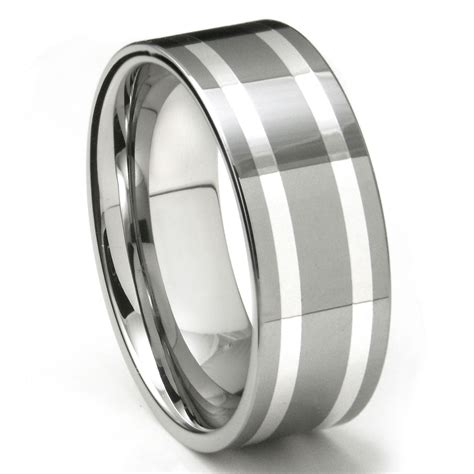 keon tungsten carbide silver inlay wedding band ring