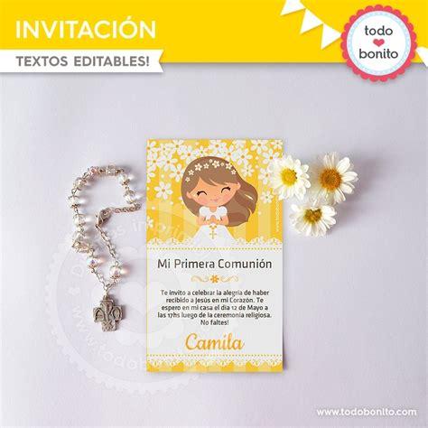 invitacion de primera comunion dibujo primera comuni 243 n margaritas invitaciones todo bonito