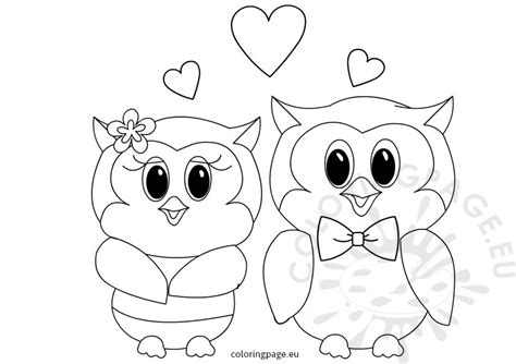 Valentine Owl Coloring Page | owls love valentines coloring page