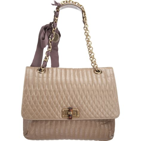 lanvin happy mm quilted shoulder bag in gray lyst