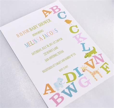 alphabet baby shower invitations baby shower pinterest