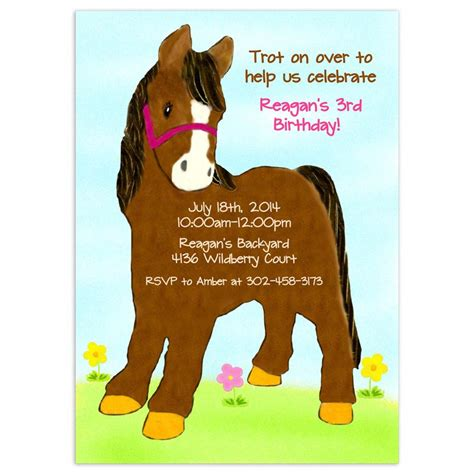 printable birthday cards horses free free printable horse birthday party invitations home