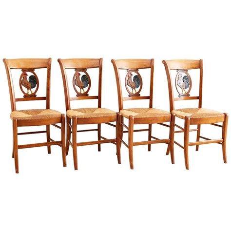 set   french provincial rush seat dining chairs