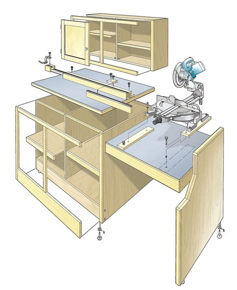 mitre bench saw miter saw workcenter woodworking plan this woodworking