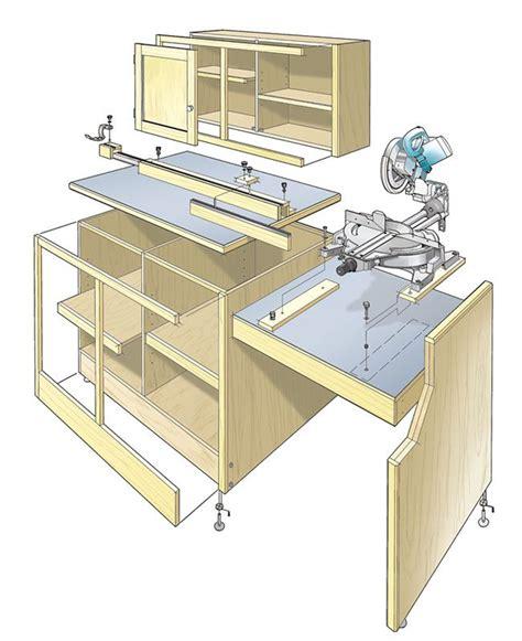 chop saw bench designs miter saw workcenter woodworking plan this woodworking