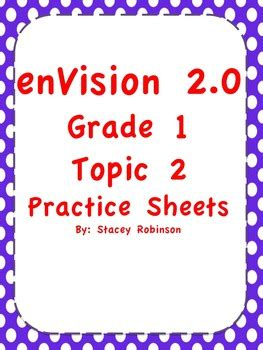 Math Practice Grades 1 2 envision math 2 0 topic 2 practice sheets grade 1 by