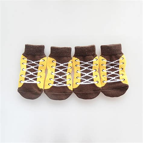 4pcs set pet shoelace pattern sneakers puppy non slip