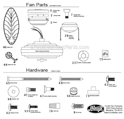 hunter 5 minute fan replacement parts hunter 23699 parts list and diagram ereplacementparts com