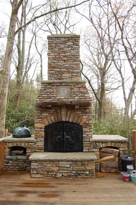 outdoor stone fireplace diy outdoor fireplace diy pinterest