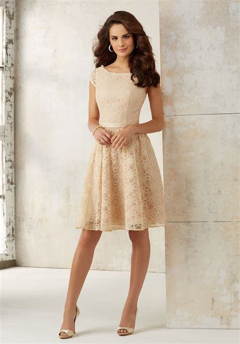 Lace Bridesmaid Dress knee length lace bridesmaids dress style 21518 morilee