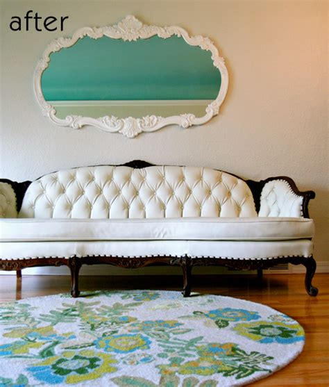 how to reupholster a tufted sofa before after faux leather sofa caign dresser