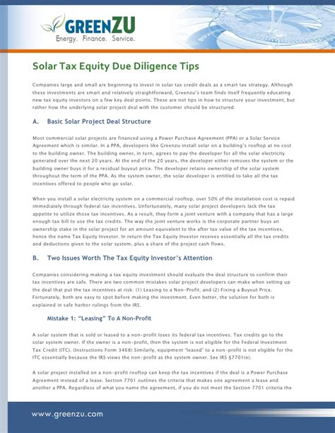pattern energy tax equity solar tax equity due diligence tips