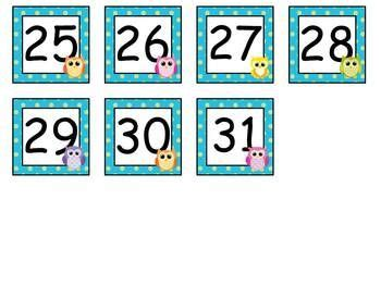 printable owl calendar numbers 21 best images about outils pratiques on pinterest