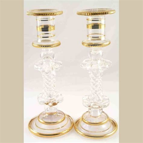 Handmade Glass Candle Holders - white handmade glass candle holder set of 2