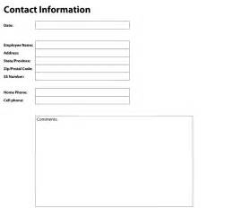 Contact Info Template by Contact Information Template Playbestonlinegames
