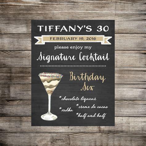 30 signature drink sign 30th birthday signature