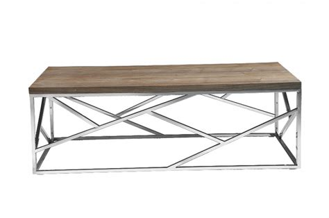 Wood And Chrome Coffee Table Aero Chrome Wood Coffee Table Modern Furniture Brickell Collection