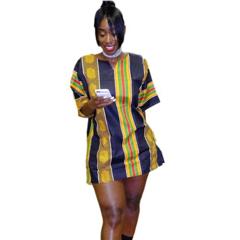 ghanaian ladies straight dress african dress printing easy straight gongni short sleeved
