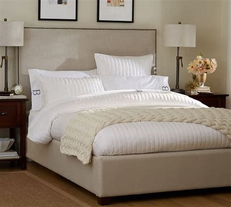 pottery barn king bed fillmore square upholstered bed headboard pottery barn