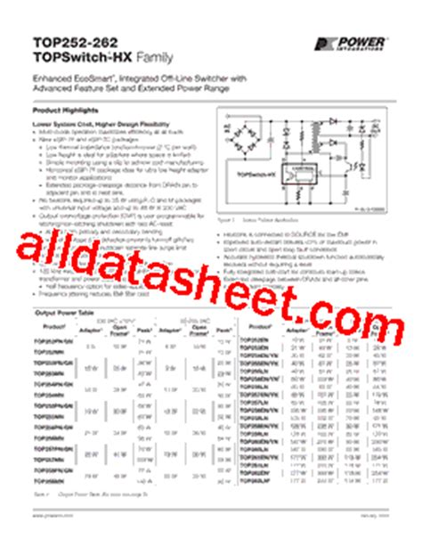 Top256en top256en datasheet pdf power integrations inc