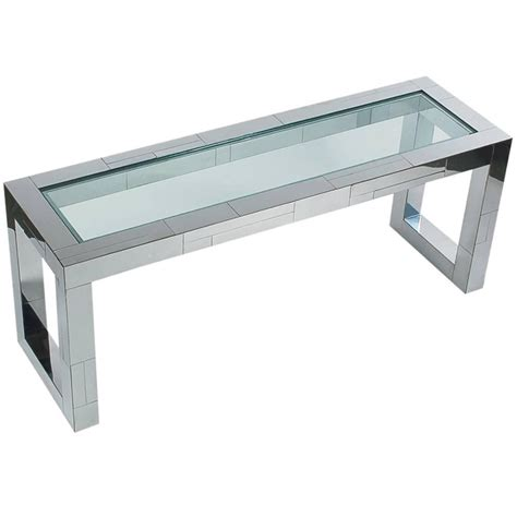 paul cityscape chrome and glass console sofa table