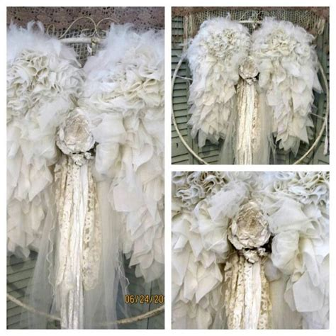 vintage shabby chic ruffle lace gem wings this