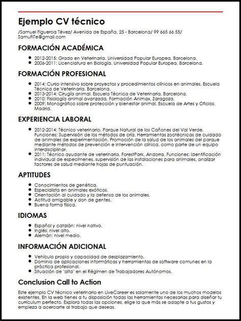 Modelo Curriculum Vitae Veterinario Ejemplo Cv Tecnico Veterinario Micvideal