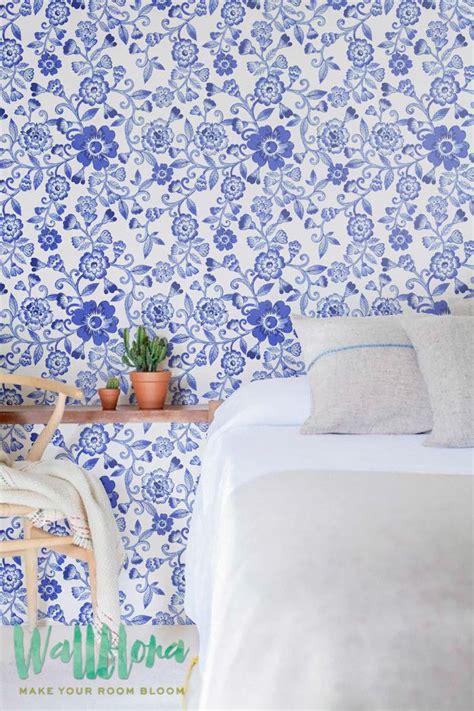 removable wallpaper floral blue floral pattern wallpaper floral wallpaper
