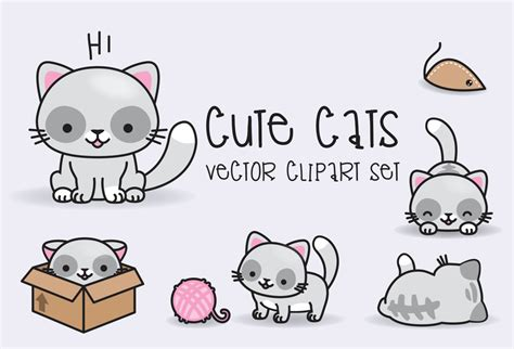 kawaii clipart premium vector clipart kawaii cats cats clipart set