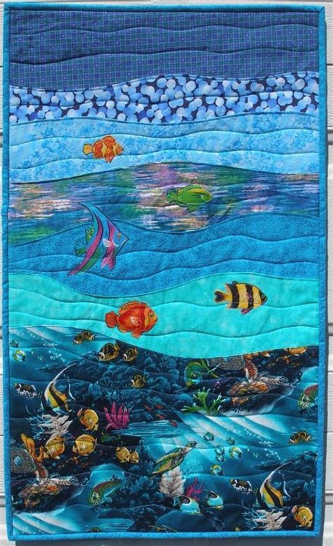Patchwork By Sea - quilt wall hanging the sea sun child room